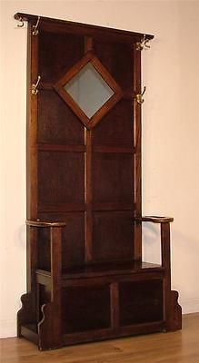 *ATTRACTIVE VINTAGE OAK MIRRORED BACK HALL COAT STICK STAND WITH LIDDED SEAT* | eBay Hallway Office, Hall Stand, Long House, Living Room Designs, Furniture Ideas, Art Nouveau, Mirror, Coat, Interior