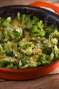 Gruyere cheese, heavy cream and nutmeg are the base of this indulgent cheesy broccoli gratin.