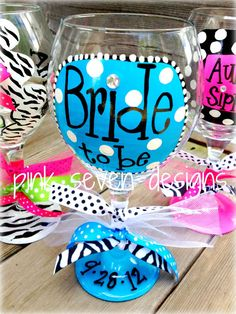 BRIDE To Be Wine Glass by pinksevendesigns on Etsy, $18.00