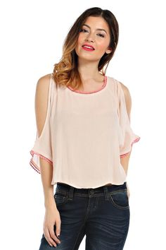 CROCHET TRIM ACCENT BLOUSE- Baby Pink