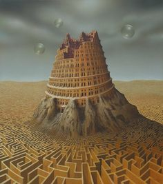 Tower of Bable Oil and acrylics by Andreas Zielenkiewicz 2006 Fantasy World, Fantasy Art, Turm Von Babylon, Guillermo Tell, Epic Of Gilgamesh, Tower Of Babel, Montage Photo, Tours, Magritte