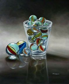 Incredible marbles! So lifelike! By Petra Palmeri Oils and Pastels