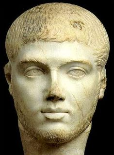 White marble portrait of Roman emperor Severus Alexander, probably made during his reign of about 222-235. Sculptures such as this were used for imperial propaganda & spread throughout the empire. This one was probably made in Egypt.