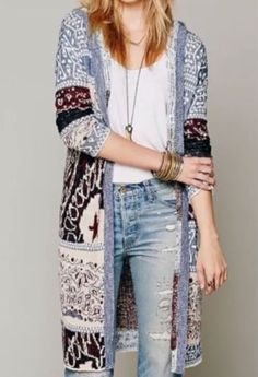NWOT - Free People Americana Duster Hoodie Sweater/Cardigan Coat -Size Large