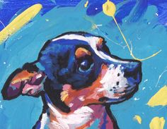 Heres a wonderful, bright, fun, tribute to your best friend and favorite breed- the Rat Terrier! printed from an original painting by Lea Your
