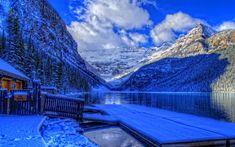 Download wallpapers Lake Louise, 4k, winter, HDR, Banff, mountains, Alberta, Banff National Park, Canada