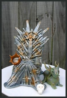 Game of Thrones – Iron Throne & Dragon cake toppers Loved making this throne – it stands around 10 inches tall and is made from RKTs and covered in fondant and airbrushed. I have put holes in the top between the swords poking out – I will put...