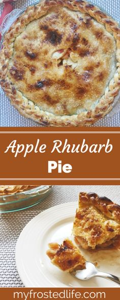 Want a unique twist on the traditional apple pie recipe? This Apple Rhubarb Pie uses a filling of fresh apples and rhubarb as a twist to the classic apple pie. This awesome, homemade pie is bursting with flavor from the sweet and tart fruit flavors that a Apple Pie Recipes, Tart Recipes, Sweets Recipes, Free Recipes, Apple Rhubarb Pie, Apple Pies, Köstliche Desserts, Delicious Desserts, Cake Pops