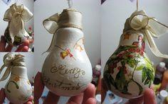 Vianočné ozdoba zo žiarovky - Vianočné dekorácie ostatné dekupáž | Artmama.sk