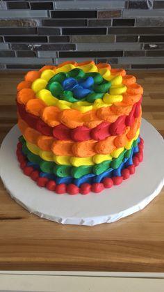 multicolored birthday cake