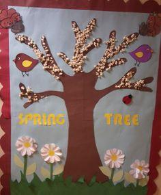 We  decorated spring tree with pop-corn! Patlamış mısır kullanarak ilkbahar ağacı süsledik!