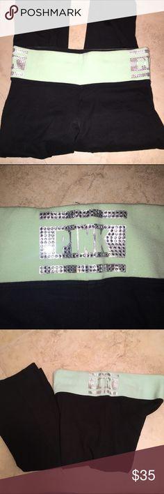 PINK bling boot cut leggings.small PINK Green bling boot cut leggings. Size small PINK Victoria's Secret Pants Leggings