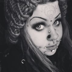I'm all for body mods but this is quite extreme. It's a shame too because she is beautiful otherwise. Facial Piercings, Ear Piercings, Peircings, Piercings For Girls, Cute Poses, Scene Girls, Unusual Jewelry, Labret, Body Modifications