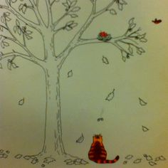 Marmalade's Yellow Leaf by Wheeler. Nice use of contrast between the orange cat / leaf and the b&w fall scene.
