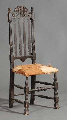 Queen Anne Banister Back Side Chair with Prince of Wales crest probably Portsmouth sold $9,775 www.fairfieldauction.com