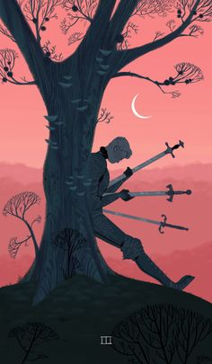Sara Kipin  Three of Swords    For my second senior thesis, I'll be completing the Suit of Swords from the Minor Arcana Tarot card deck! It's an excuse to draw sad fantasy knights