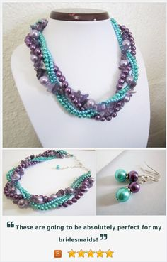 A braided, statement necklace featuring beautiful amethyst gemstone chips and shades of teal green, turquoise and purple glass pearls. Perfect for weddings, as a bridesmaid git or for an evening out.