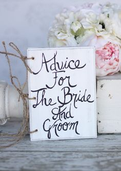 Wedding Guest Book Advice For The Bride And Groom Shabby Chic Decor. $40.00, via Etsy.