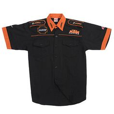 Black KTM shirt moto gp racing shirt suits motorcycle shirts Camisa F1, Mechanic Shop, Work Uniforms, Team Shirts, Polo Shirt, T Shirt, Motogp, Harley Davidson, Men's Fashion