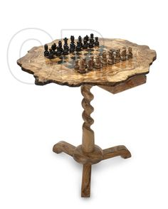 olive wood Coffee table chess board
