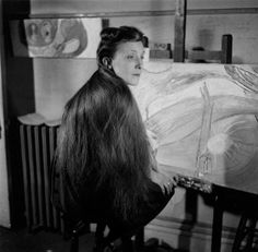 Louise Bourgeois in her apartment studio at 142 East 18th Street in New York, circa 1946.