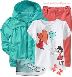 Toddler Girl's Outfit: Mint & Coral - Featuring items from Old Navy, H&M, and Gymboree.