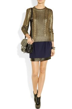 MICHAEL Michael Kors | Metallic-coated cable-knit sweater | NET-A-PORTER.COM
