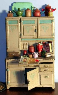 tiny 1920's doll house kitchen cupboard and accessories
