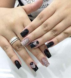 Unhas decoradas com amor maravilhosas Classy Nails, Stylish Nails, Trendy Nails, Classy Nail Designs, Gel Nail Designs, Latest Nail Designs, Nail Designer, Perfect Nails, Winter Nails