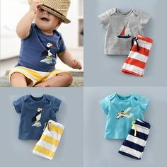 Pop Baby Toddler Kids Boys Summer Tops T-shirt Striped Pants Outfits Sets 0-5T #Unbranded #Casual