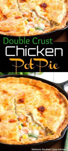 A flavorful homemade pot pie filling sandwiched between two crusts guarantees this Double Crust Chicken Pot Pie will bring comfort to your dinner table. Healthy Chicken Pot Pie, Chicken Recipes, Chicken Meals, Homemade Chicken Pot Pie, Double Crust Chicken Pot Pie Recipe, Cast Iron Chicken, Chicken Pot Pie Casserole, Cast Iron Recipes, Cast Iron Cooking