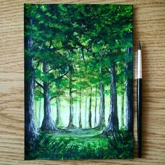 Glowing Acrylic Painting Tutorial For Beginners Forest Painting, Mini Canvas Art, Guache, Nature Paintings, Art Nature, Nature Crafts, Art Paintings, Pastel Art, Fantasy