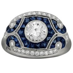 Sapphire Diamond Platinum Ring | From a unique collection of vintage cocktail rings at https://www.1stdibs.com/jewelry/rings/cocktail-rings/