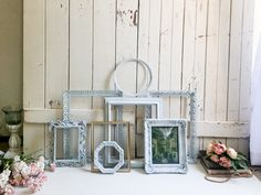 French Blue Vintage Frames, Dusty Blue Ornate Picture Frames, French Cottage Decor Ornate Picture Frames, Painted Picture Frames, French Cottage Decor, Shabby Chic Cottage, Frame Gallery, Gallery Wall, Rustic French, French Blue, Hanging Pictures