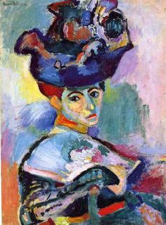 art-library:  Henri Matisse, Woman with the Hat, 1905.  Matisse portrayed his wife Amelie using patches and splotches of seemingly arbitrary colors. He and the other Fauve painters used color not to imitate nature but to produce a reaction in the viewer.