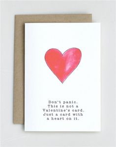 Don't Panic. This is not a Valentines Card  by AvEHdesigns on Etsy, $4.00