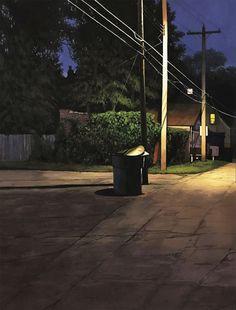 Christopher Burk (American, based Columbus, OH, USA) Alleyway Nocturne I, 2018, Gouache on Paper Pop Art Illustration, Landscape Illustration, Nocturne, Cherry Blossom Japan, American Realism, Cardboard Sculpture, Cycling Art, Glass Animals, Urban Landscape