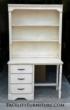Desk with Hutch in distressed Off White with Tobacco glaze. From Facelift Furniture's Desk & Vanities collection.