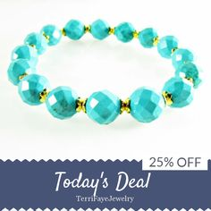 Today Only! 25% OFF this item.  Follow us on Pinterest to be the first to see our exciting Daily Deals. Today's Product: Sale -  Turquoise Stretch Bracelet, Turquoise Faceted Bead Bracelet, Gifts for Her, Boho Bracelet, Stackable Bracelets Buy now: https://www.etsy.com/listing/473889069?utm_source=Pinterest&utm_medium=Orangetwig_Marketing&utm_campaign=Daily%20Oct   #etsyjewelry #etsy #etsyseller #etsyshop #etsylove #etsyfinds #etsygifts #gemstone #gemstonejewelry #photooftheday #instacool…