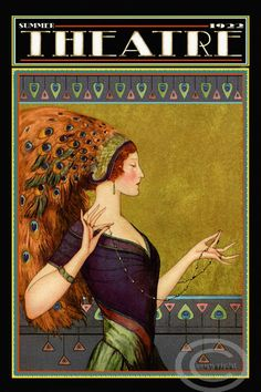 Whimsical Art Deco Theatre Cover Poster W.T. Benda Costume Masks Stage Peacock Girl in Headdress  1922 Giclee Fine Art Print 12x18
