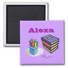 Books & Pencils Square Magnet by MoonDreams Music #magnet #square #books #pencils #school #dorm #student