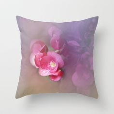 Warm/相思花 1 Throw Pillow by Katherine Song  - $20.00