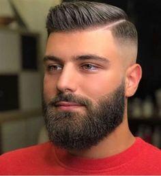 Fade Haircut With Beard, Short Hair With Beard, Short Fade Haircut, Beard Haircut, Beard Fade, Mens Hairstyles Side Part, Mens Hairstyles With Beard, Cool Mens Haircuts, Cool Hairstyles For Men