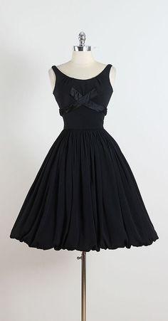 Raven Tide ➳ vintage 1950s dress * black crepe chiffon * acetate lining * back bow accent * balloon skirt * metal back zipper * by Jr. Theme condition |