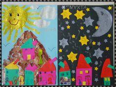 Ταξιδεύοντας στον κόσμο των νηπίων: ΜΕΡΑ-ΝΥΧΤΑ Efl Teaching, K 1, Day For Night, Preschool Activities, Art Education, Art Lessons, Crafts For Kids, Seasons, Winter