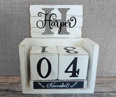 The new Farmhouse style is taking the country by storm. This perpetual block calendar is designed to fit in with that style. It can be used year after year because it has months and days on it (no year).  Included are a base, 2 blocks for the dates (6 doubles for a 9) and three wooden bars with the months of the year. The base is white and has been scraped to attain a shabby chic look. The number blocks are also distressed with black numbers on them. The month bars look like a small…