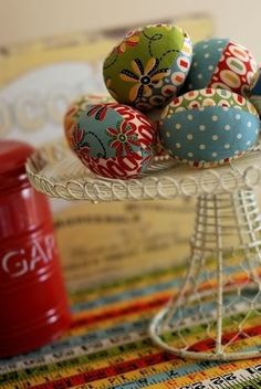 DIY Fabric Easter Eggs - these are beautiful & really fun to make.