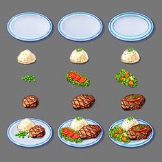 Food by Alina Kazak Food Painting, Food Icons, Food Drawing, Food Design, Game Design, Food Illustrations, Cute Food, Plated Desserts, Food Presentation