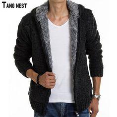 Sweater Male Casual Hooded Winter Wear Fur Lining