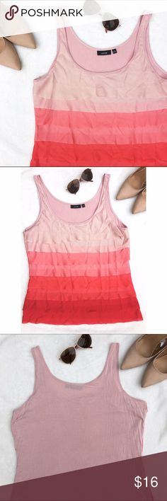 Ombré Layered Tank Top This top is pretty, flattering and so soft! The ombré blush to coral is a lovely combination that will compliment all skin tones. Can be dressed up or worn casually. Has been worn but shows no significant signs of wear. Apt. 9 Tops Tank Tops
